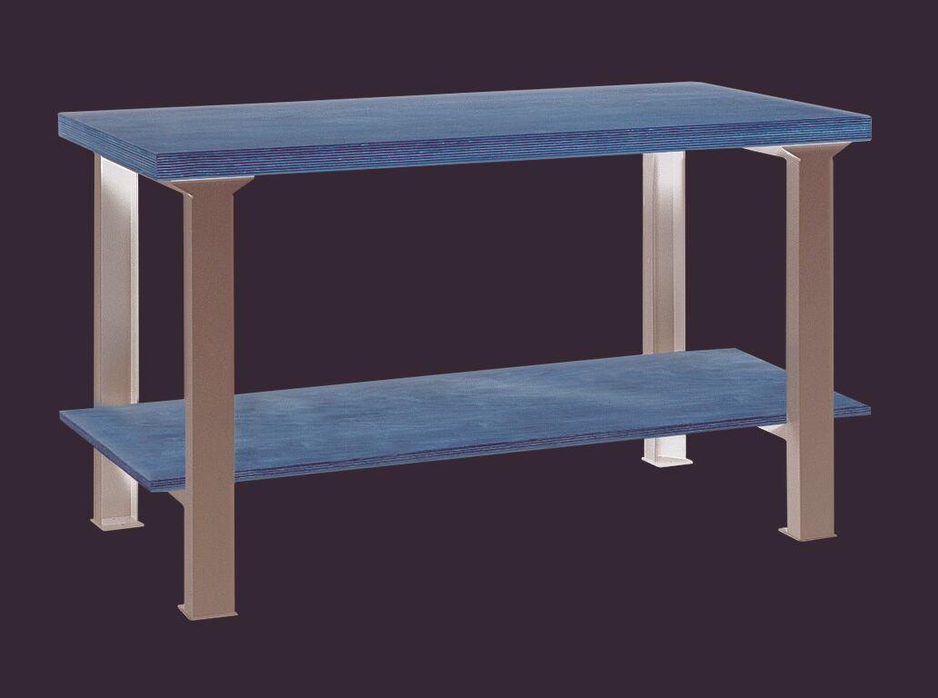 SETAM Etabli d'atelier avec plateau bois et étagère L.150 cm