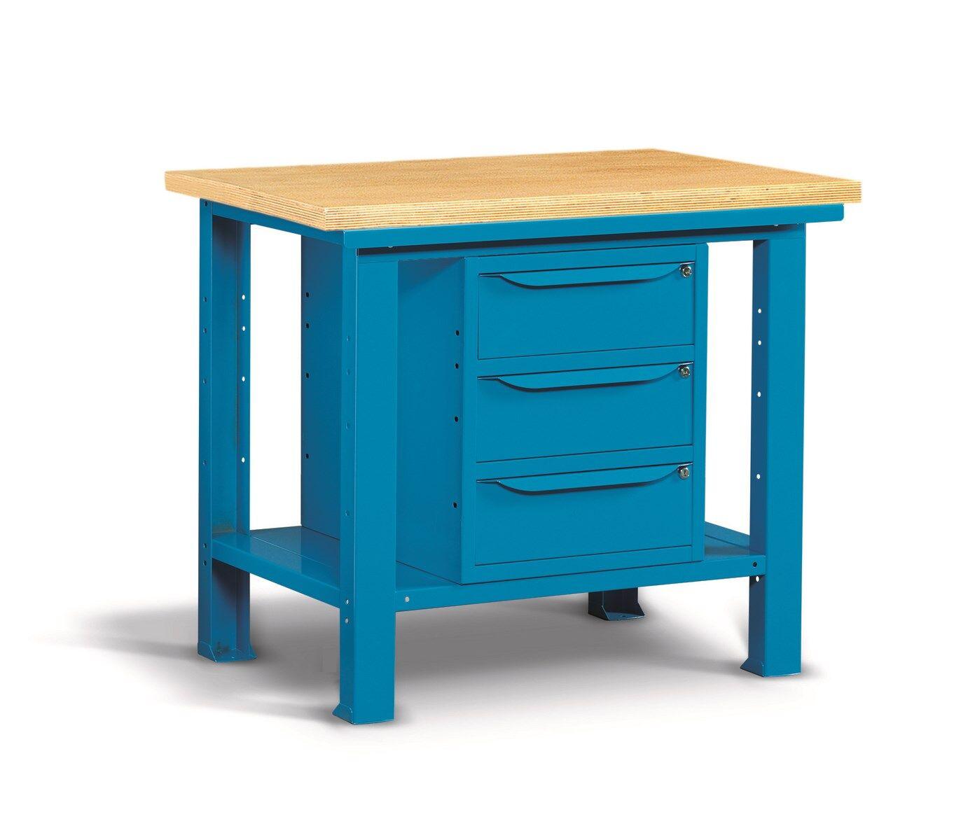 SETAM Etabli d'atelier plateau bois et 3 tiroirs 1m