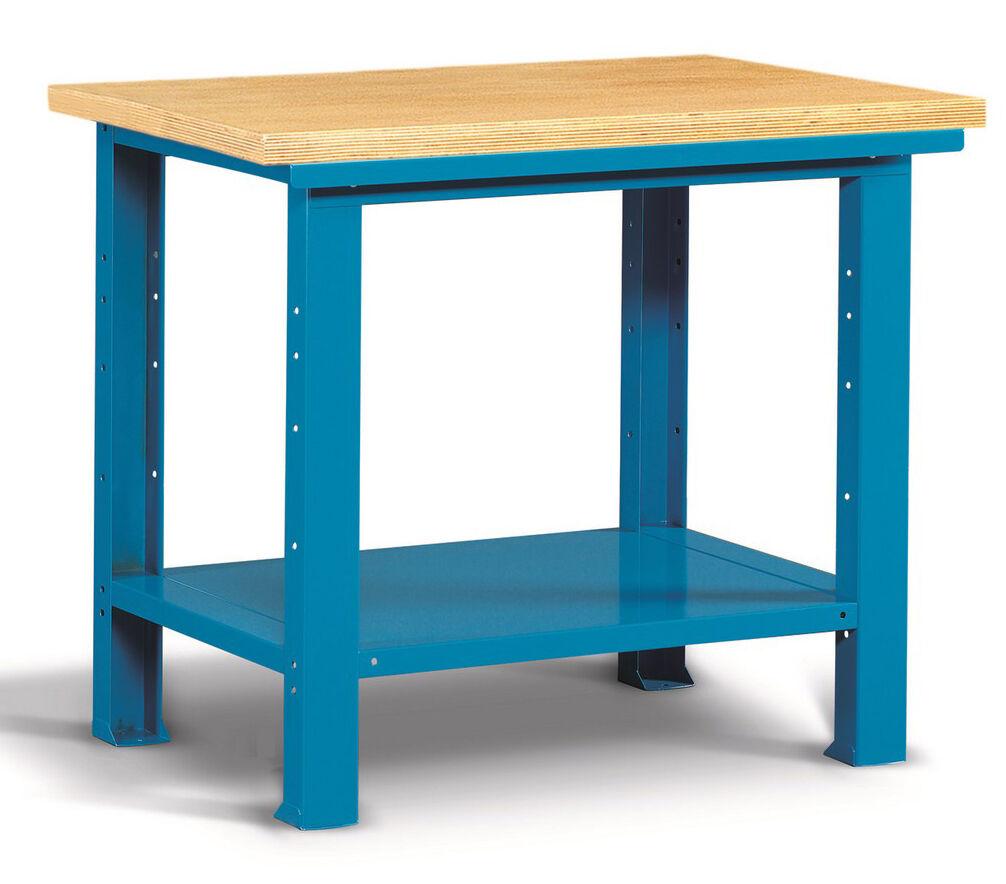 SETAM Etabli d'atelier plateau bois et tablette 1 mètre