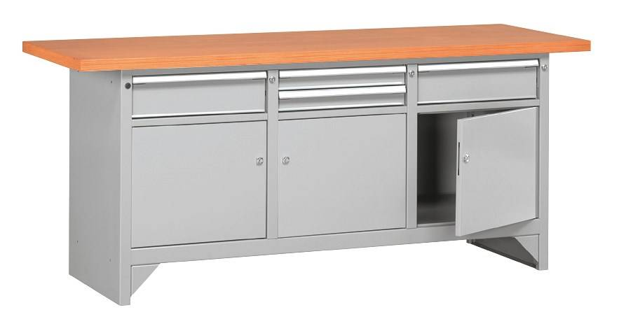 SETAM Etabli métal plateau bois avec rangement 2 mètres