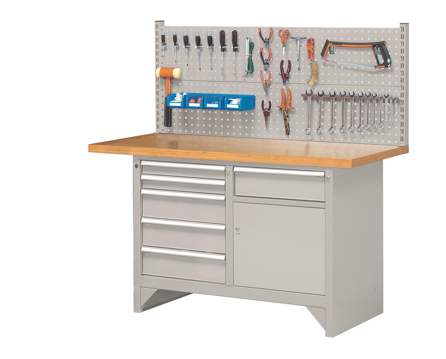 SETAM Etabli métallique d'atelier avec panneau porte-outils