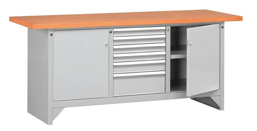 SETAM Etabli métallique plateau bois avec tiroirs L.2000 mm