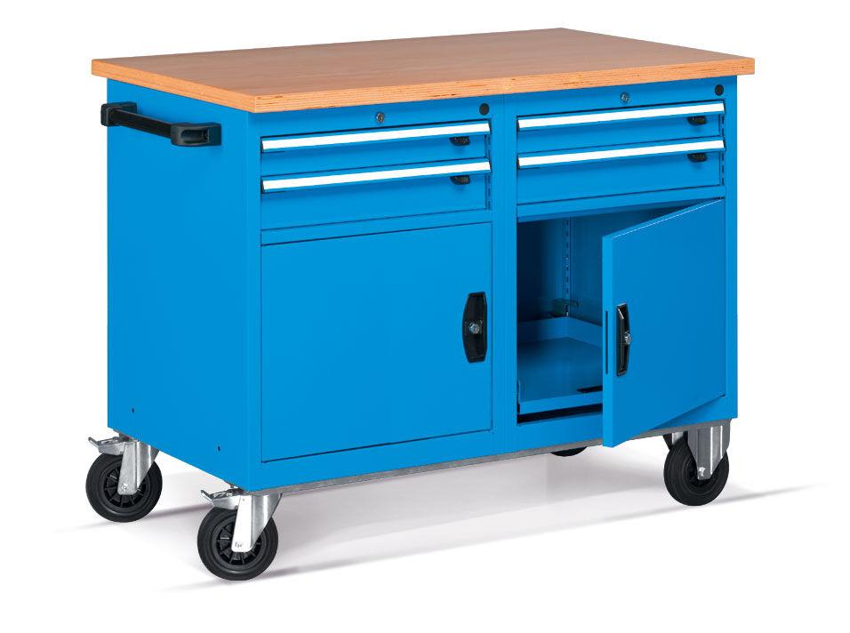 SETAM Etabli mobile d'atelier avec 2 portes et 2 tiroirs