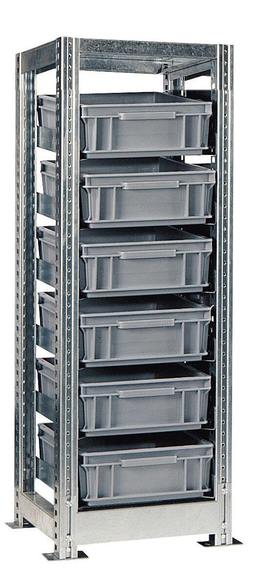 SETAM Rack de rangement avec 6 bacs plastiques 10 litres