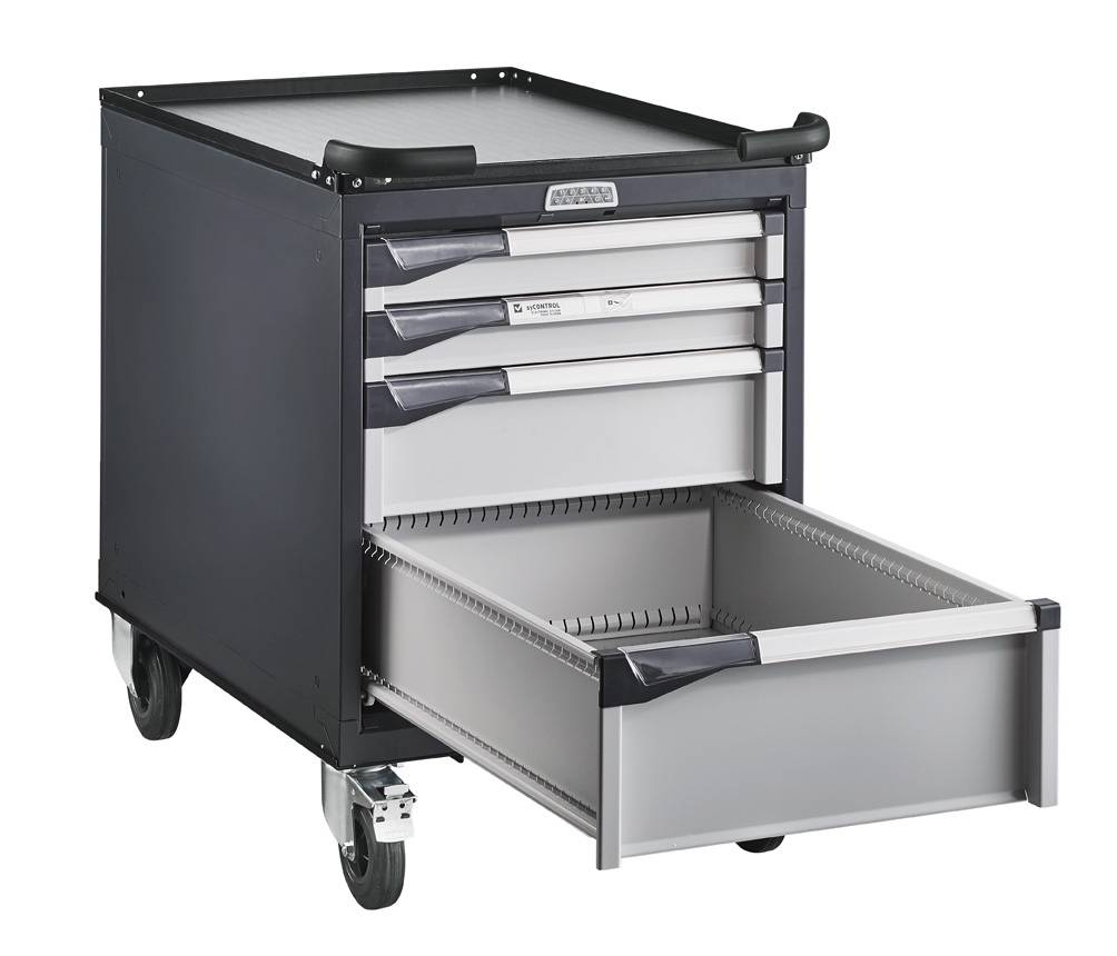 SETAM Servante atelier 4 tiroirs avec serrure à code électronique