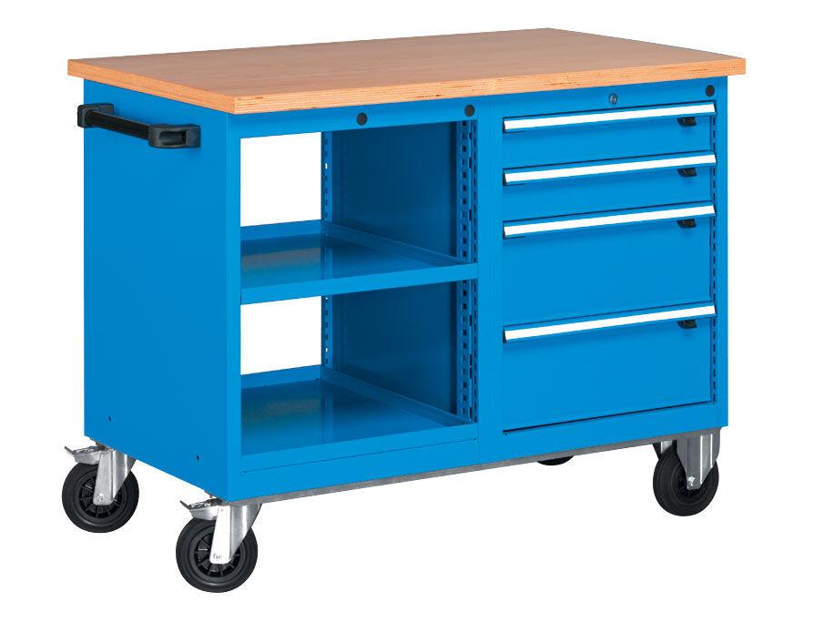 SETAM Servante mobile d'atelier 2 tablettes et bloc 4 tiroirs