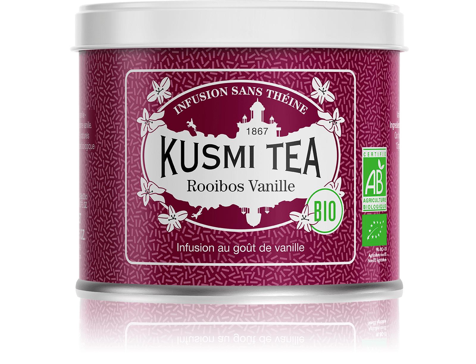 KUSMI TEA Rooibos Vanille (Infusion bio) - Infusion au goût de vanille - Boite à thé en vrac - Kusmi Tea