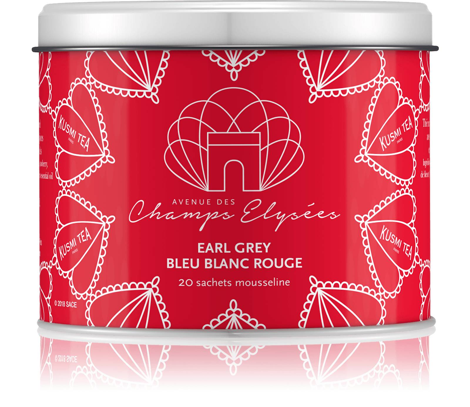 KUSMI TEA Earl Grey Bleu Blanc Rouge - Thé noir aromatisé à la bergamote avec des morceaux de fruits et des pétales de bleuet - Sachets de thé - Kusmi Tea