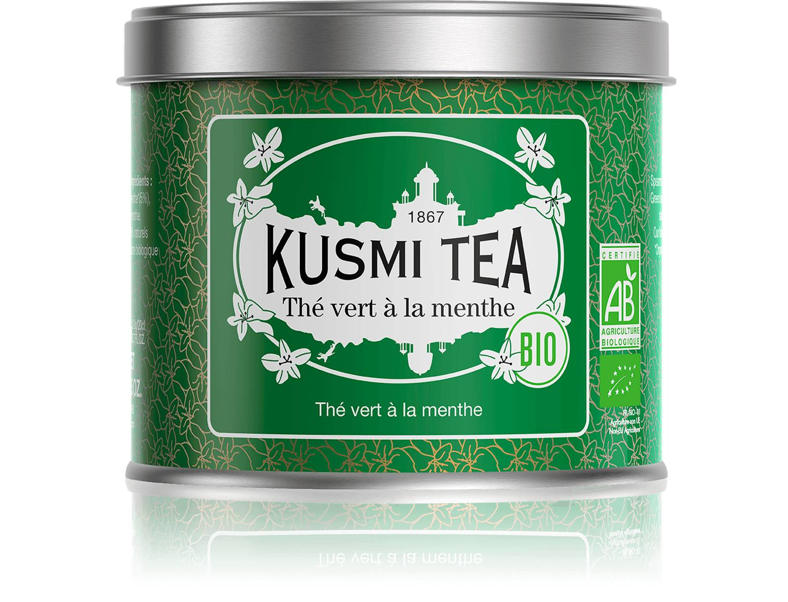 KUSMI TEA Thé vert à la menthe bio - Thé vert à la menthe - Boite à thé en vrac - Kusmi Tea