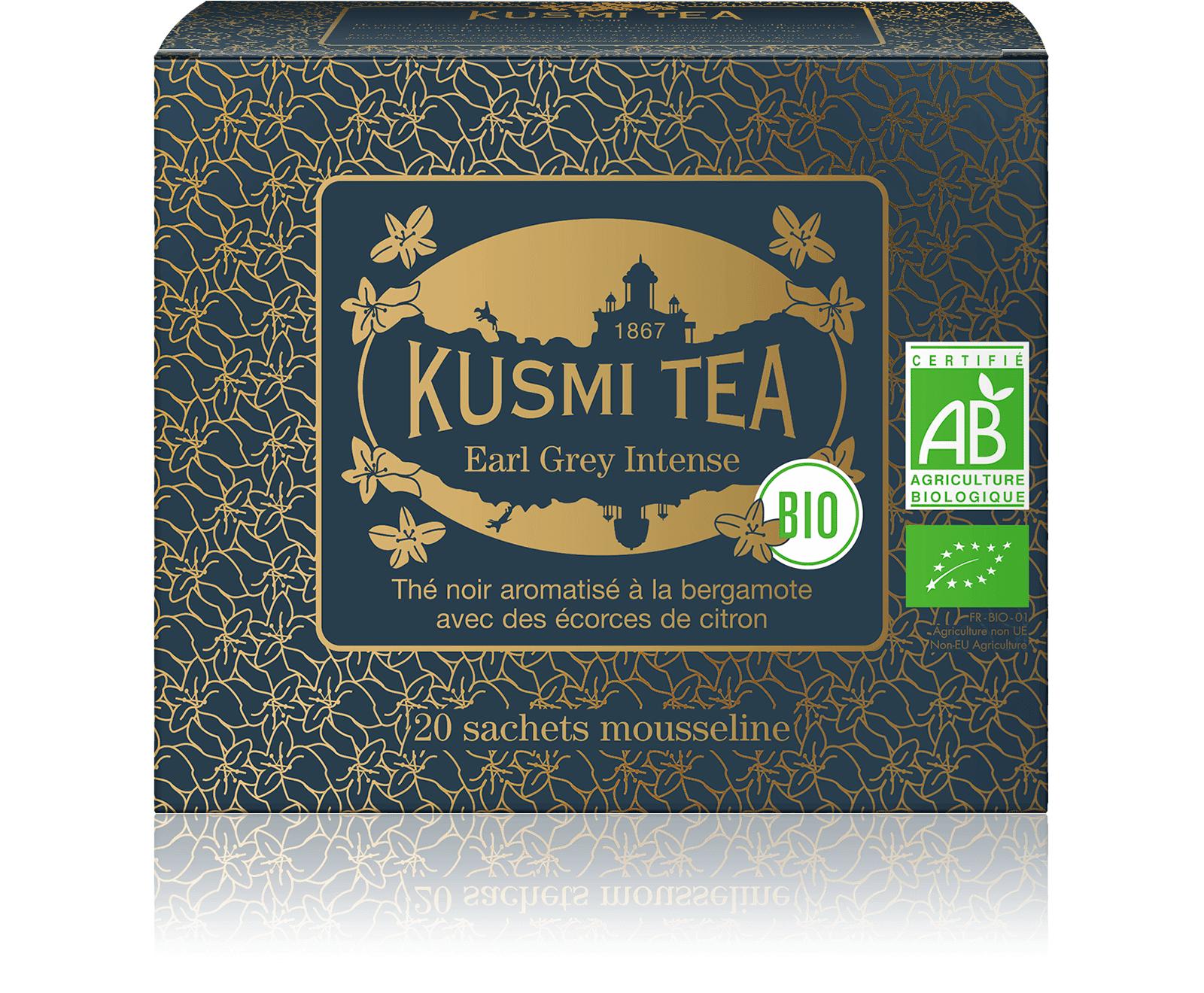 KUSMI TEA Earl Grey Intense bio - Thé noir, bergamote, citron - Sachets de thé - Kusmi Tea