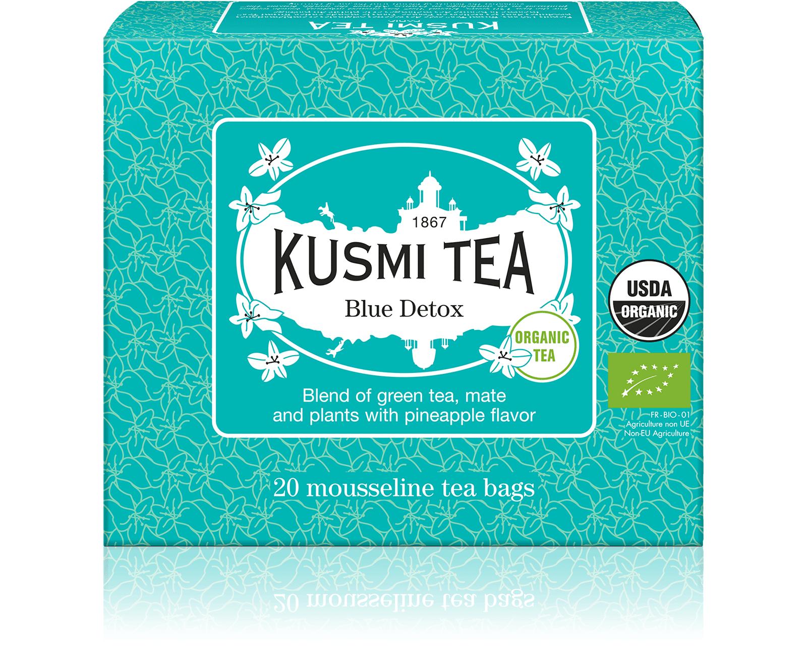KUSMI TEA Blue Detox bio - Mélange de thé vert, maté et plantes aromatisé ananas - Sachets de thé - Kusmi Tea