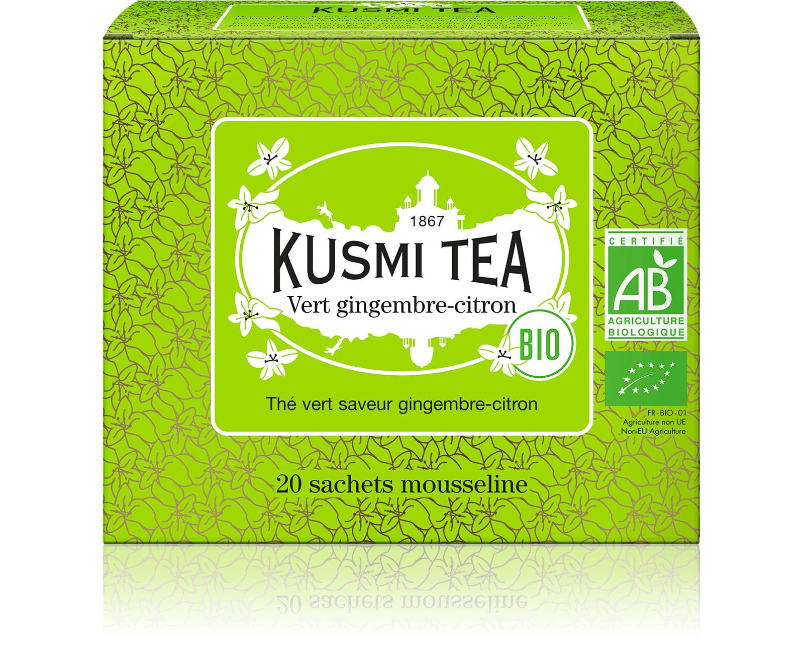 KUSMI TEA Vert gingembre-citron bio - Thé vert, gingembre, citron - Sachets de thé - Kusmi Tea