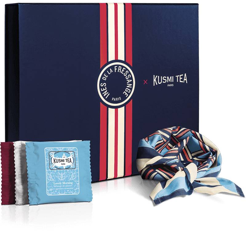 KUSMI TEA Coffret bio Les voyages d Ines - Assortiment de 40 sachets de thés et infusions aromatisés accompagné d'un foulard en coton bio (50x50cm) - Kusmi Tea