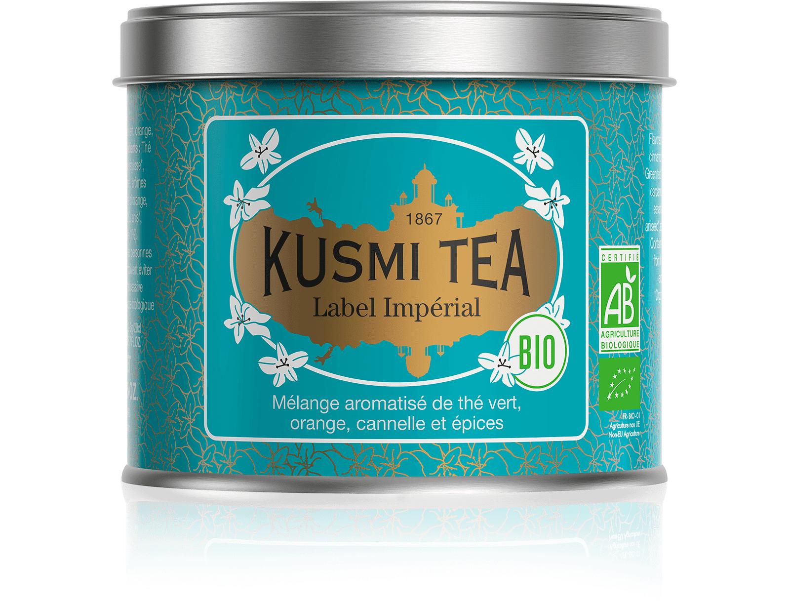 KUSMI TEA Label Imperial bio - Thé vert, épices, cannelle - Boîte de thé en vrac - Kusmi Tea