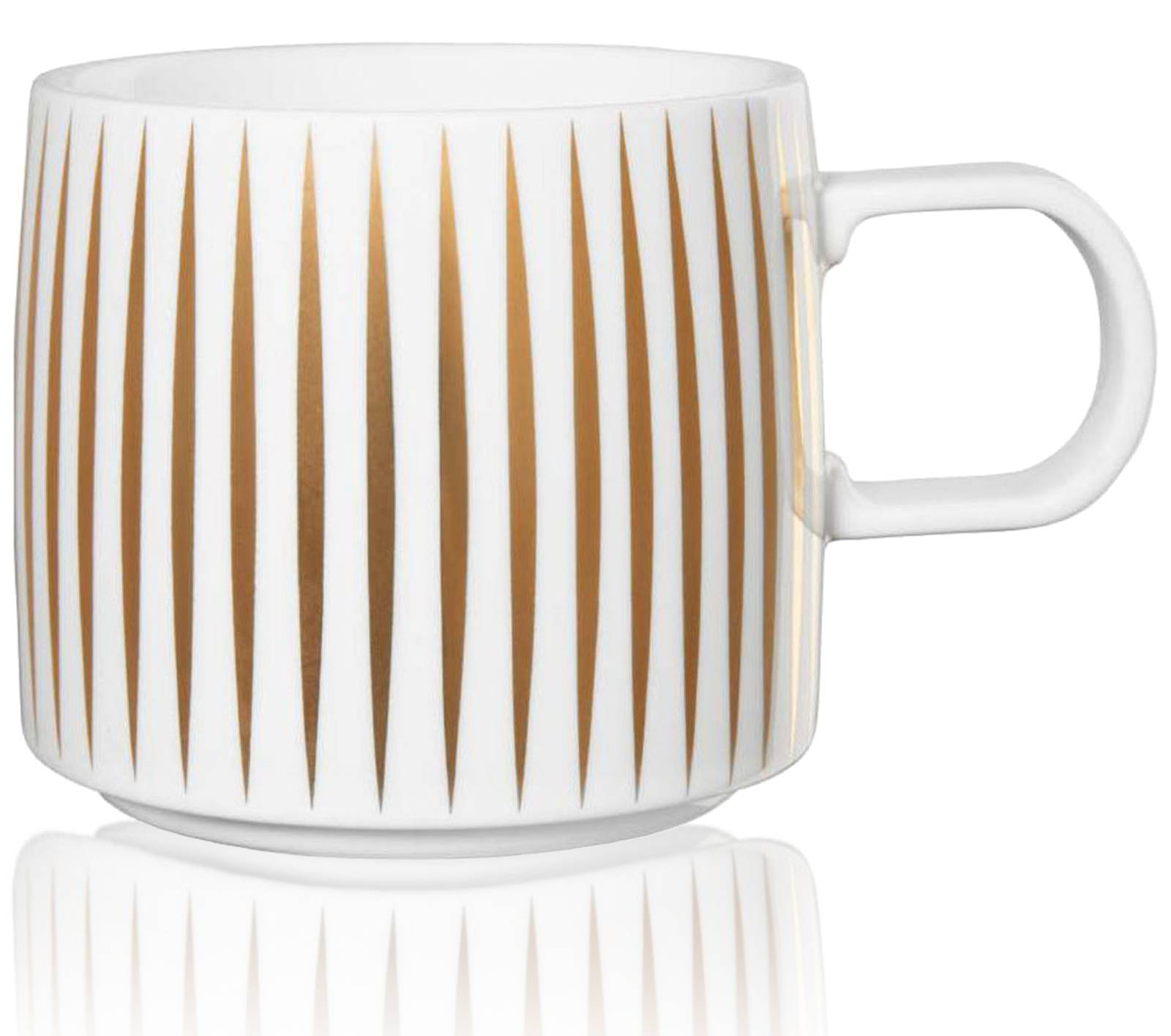 KUSMI TEA Mug Trésor en porcelaine blanche et or 0,35 L