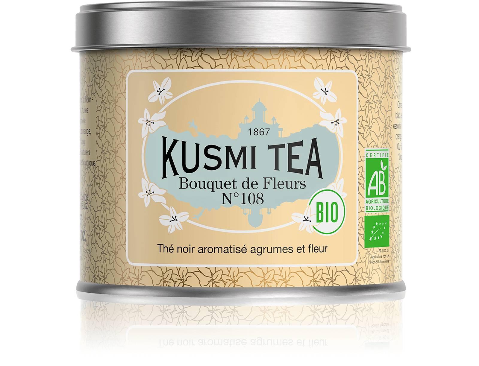 KUSMI TEA Bouquet de Fleurs N°108 bio - Thé earl grey, fleur Ylang-Ylang - Boîte de thé en vrac - Kusmi Tea