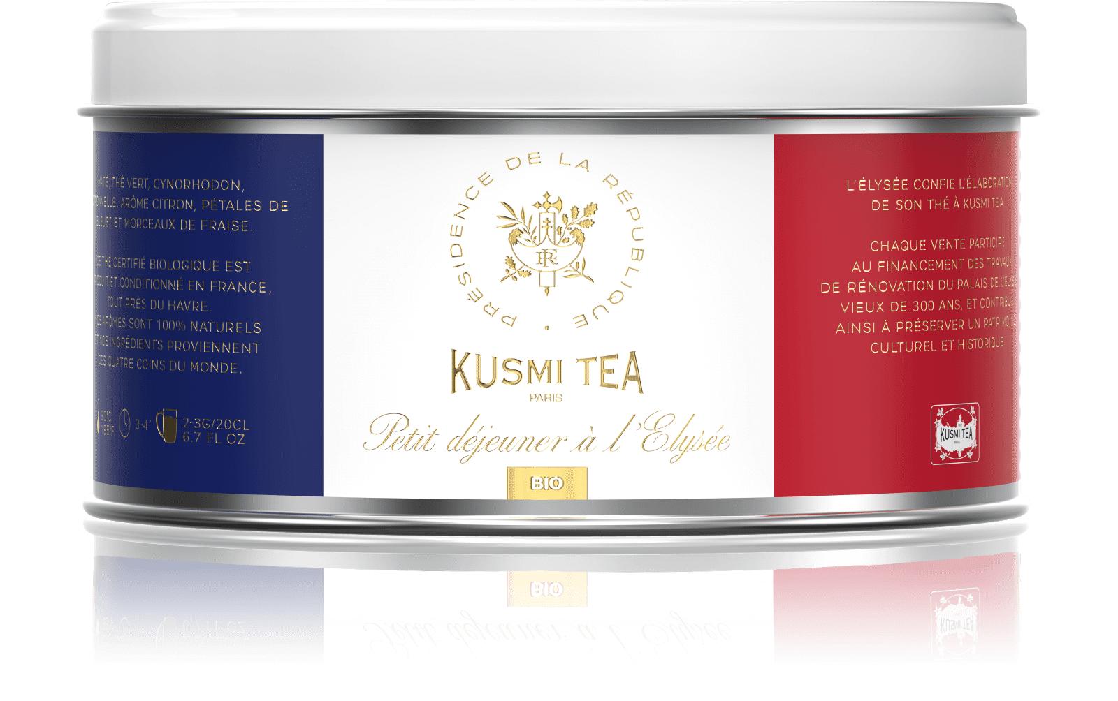 KUSMI TEA Petit déjeuner à l'Elysée bio - Thé vert, maté, citron - Boîte de thé en vrac - Kusmi Tea