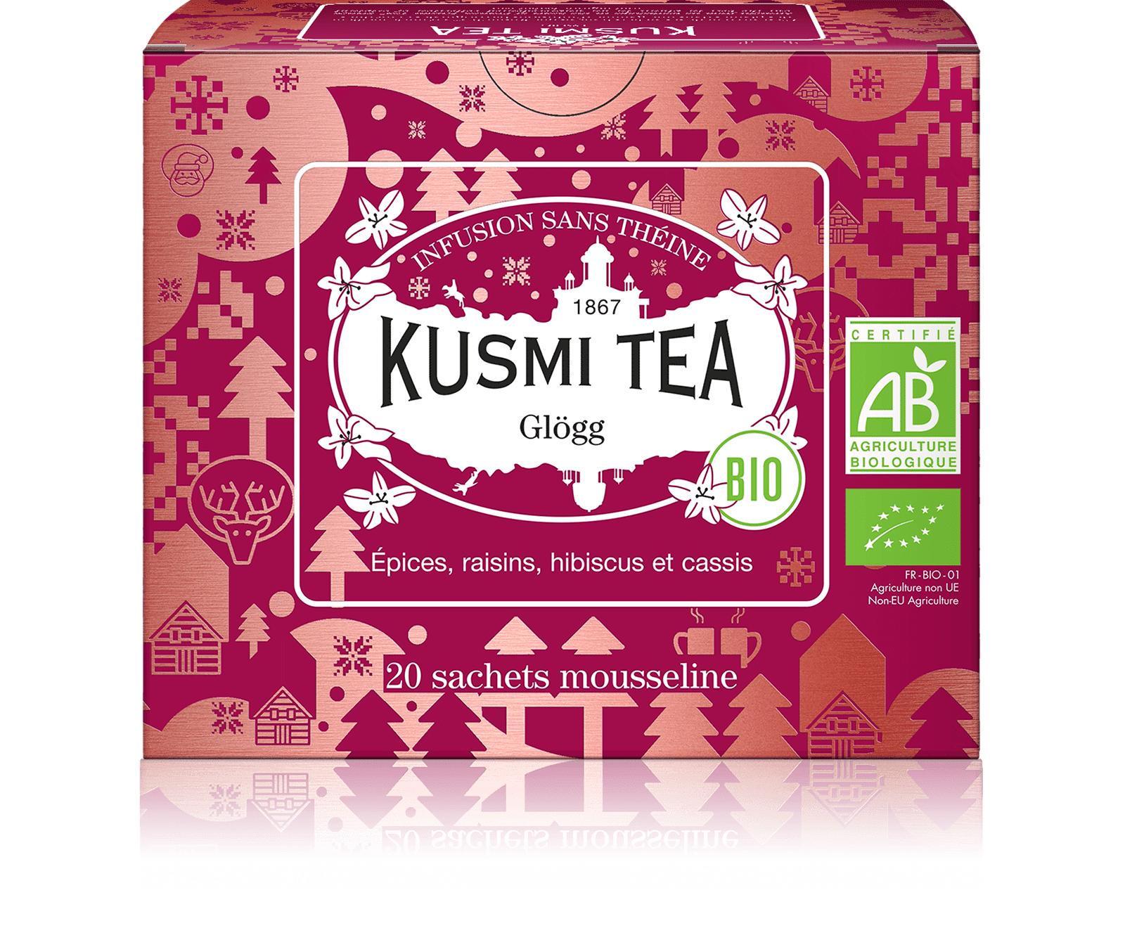KUSMI TEA Glögg (Infusion bio) - Mélange aromatisé d'épices, de fruits et d'hibiscus - Sachets de thé - Kusmi Tea