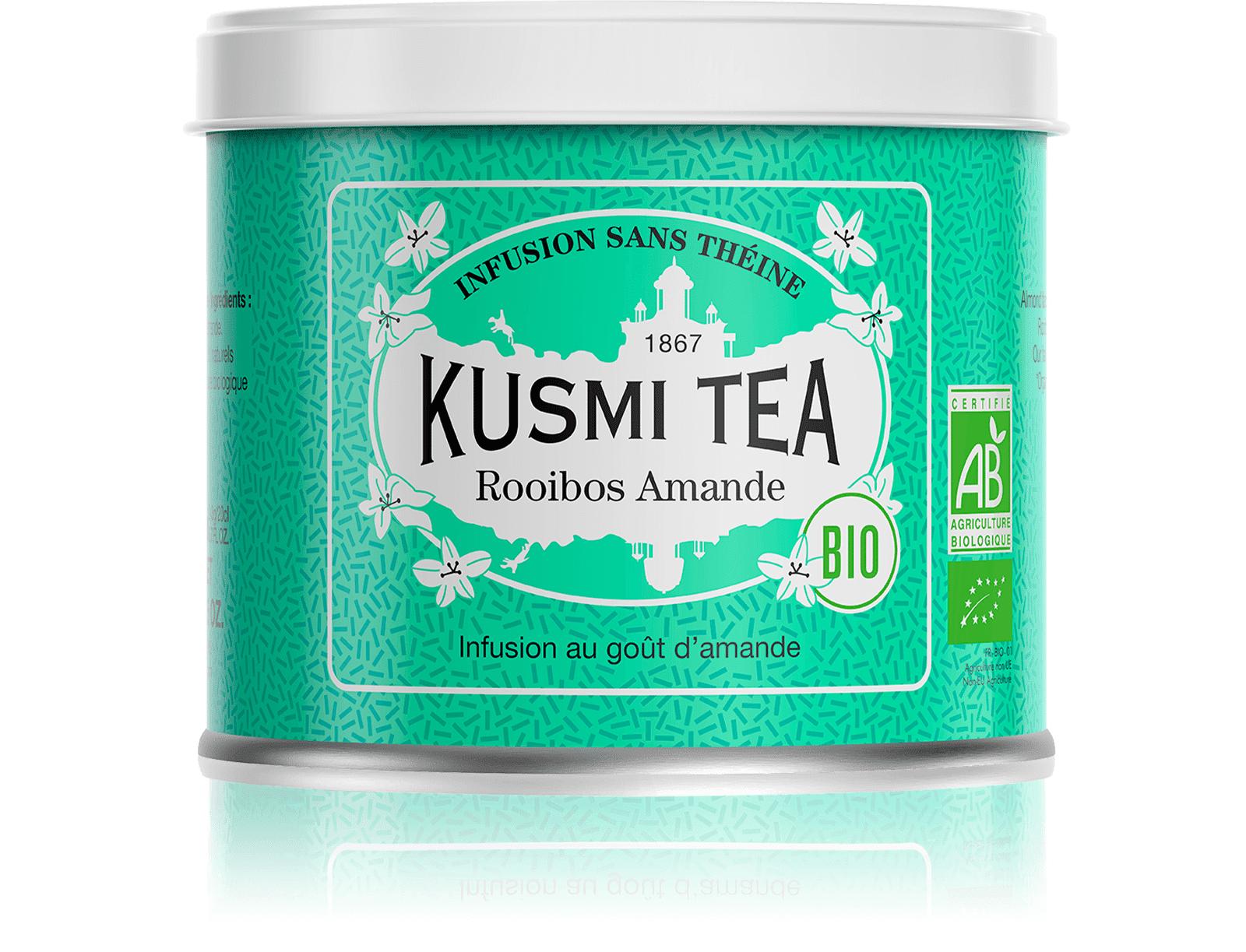 KUSMI TEA Rooibos Amande (Infusion bio) - Infusion au goût d'amande - Boite à thé en vrac - Kusmi Tea
