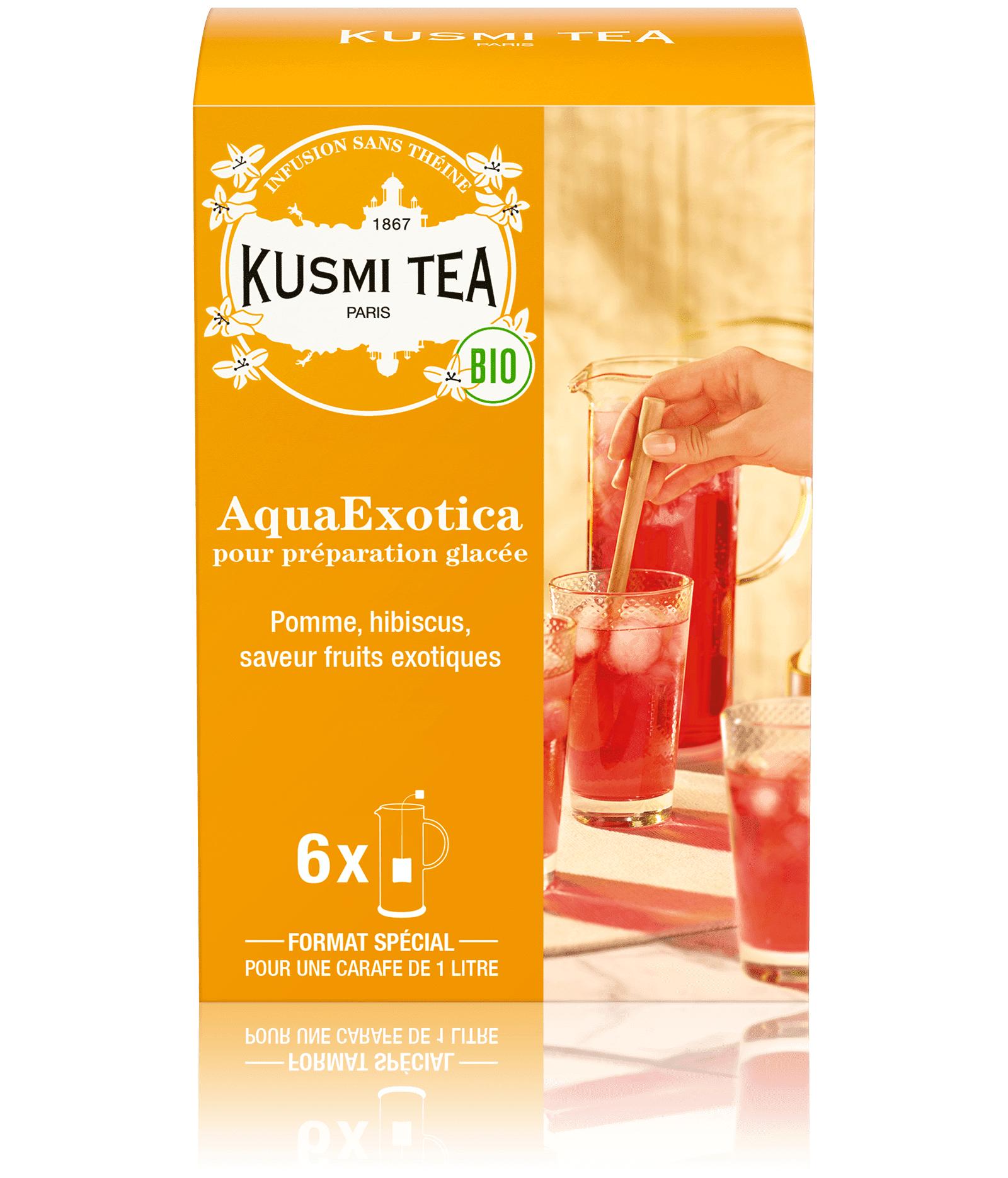 KUSMI TEA AquaExotica (Infusion de fruits bio) - Infusion hibiscus, mangue - Sachets de thé - Kusmi Tea