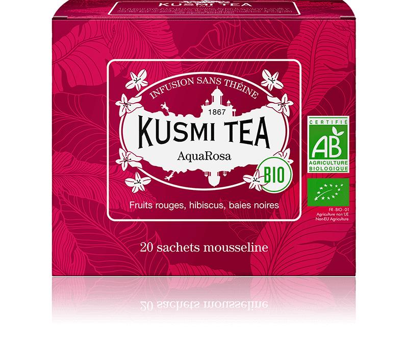 KUSMI TEA AquaRosa (Infusion de fruits bio) - Infusion hibiscus, fruits rouges - Sachets de thé - Kusmi Tea