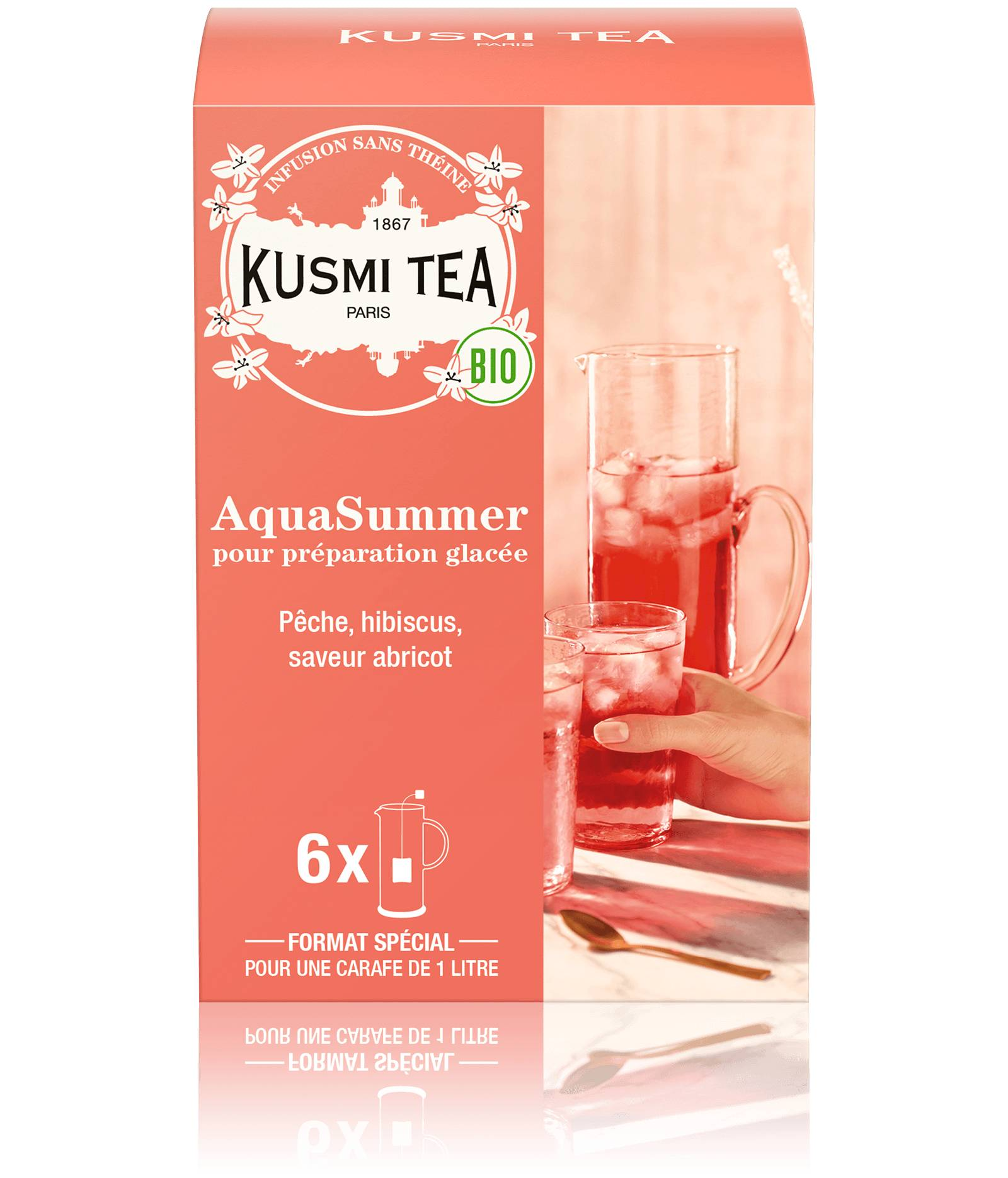 KUSMI TEA AquaSummer (Infusion de fruits bio) - Infusion hibiscus, pêche, abricot - Sachets de thé - Kusmi Tea