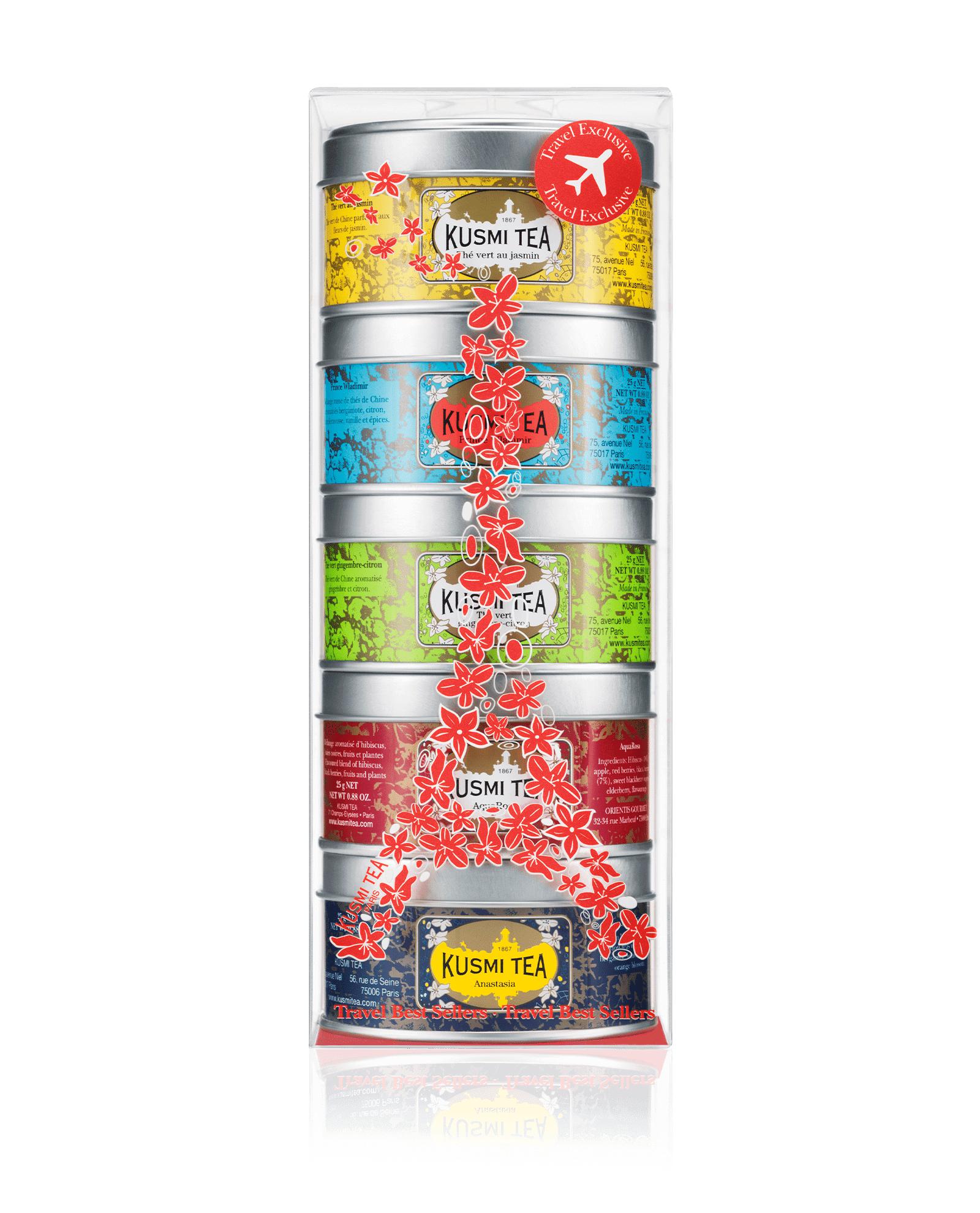 KUSMI TEA Assortiment Miniatures - Travel Best Sellers - Coffret de 5 miniatures de thés aromatisés et infusion - Kusmi Tea