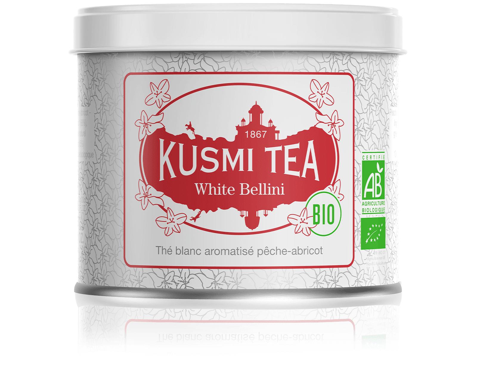 KUSMI TEA White Bellini bio - Thé blanc aromatisé pêche-abricot - Boite à thé en vrac - Kusmi Tea