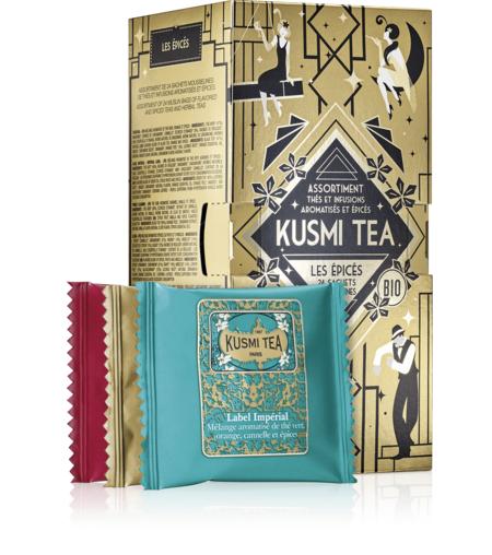 KUSMI TEA Coffret Les épicés - Assortiment de 24 sachets mousselines de thés et infusions aromatisés et épicés - Kusmi Tea