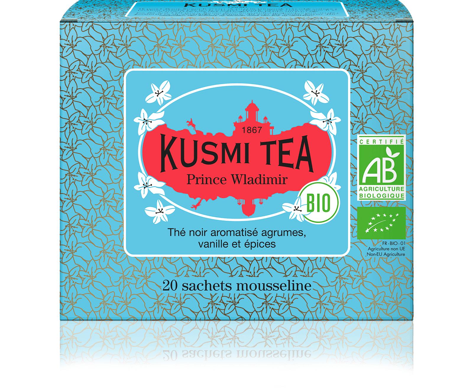 KUSMI TEA Prince Vladimir bio - Thé noir earl grey, orange - Sachets de thé - Kusmi Tea