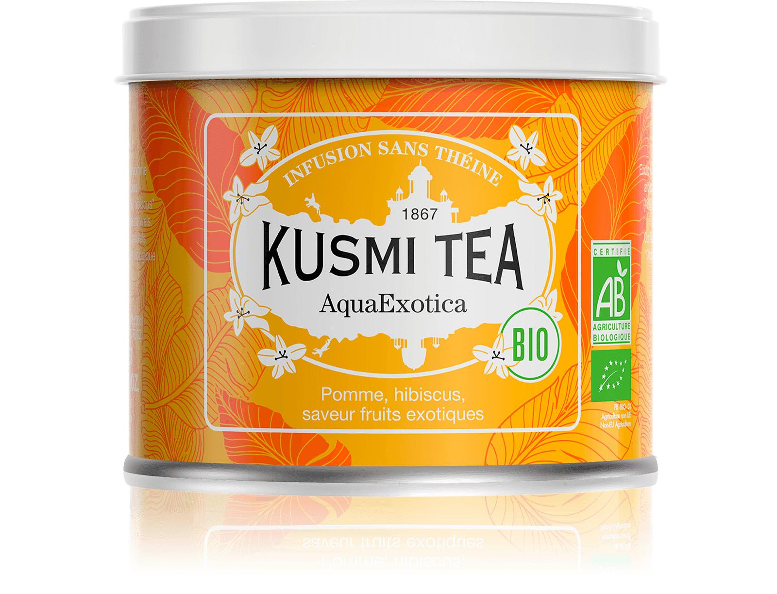 KUSMI TEA AquaExotica (Infusion de fruits bio) - Infusion hibiscus, mangue - Boîte de thé en vrac - Kusmi Tea