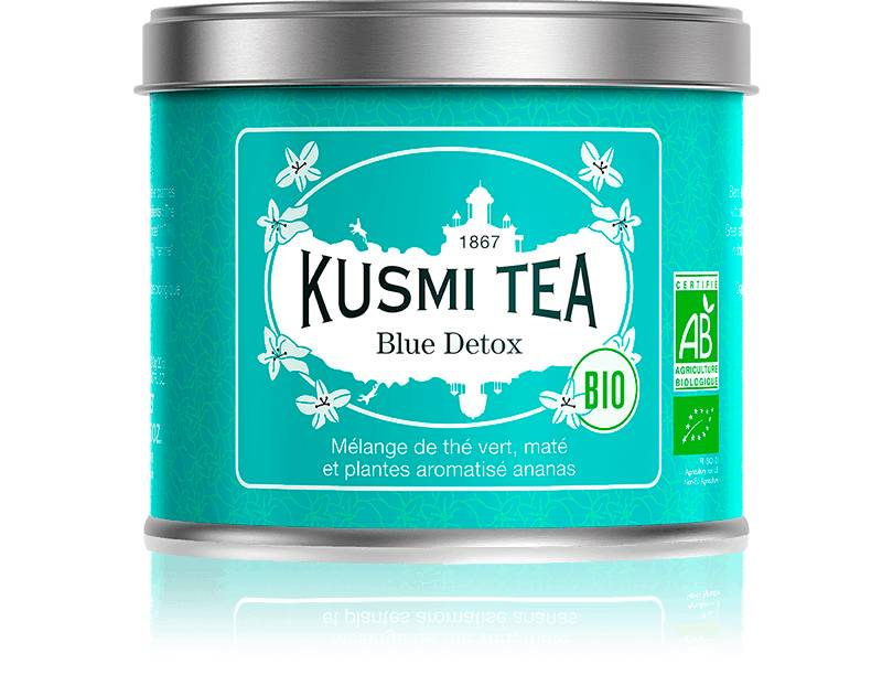KUSMI TEA Blue Detox bio - Mélange de thé vert, maté et plantes aromatisé ananas - Boite à thé en vrac - Kusmi Tea