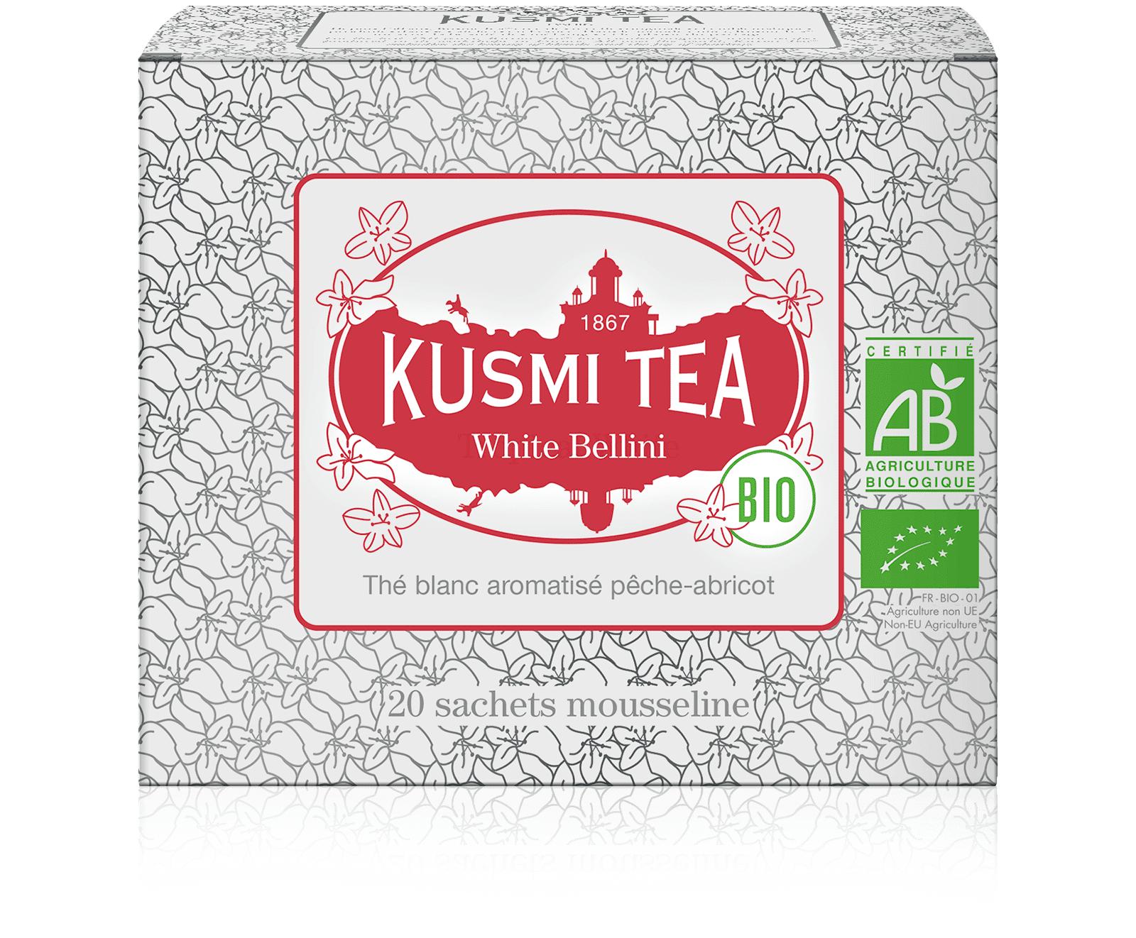 KUSMI TEA White Bellini bio - Thé blanc aromatisé pêche-abricot - Sachets de thé - Kusmi Tea