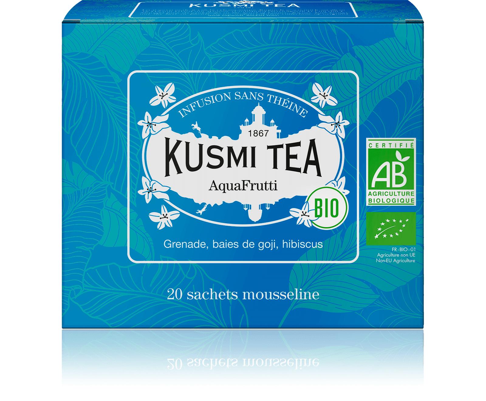 KUSMI TEA AquaFrutti (Infusion de fruits bio) - Infusion hibiscus, baies de goji - Sachets de thé - Kusmi Tea