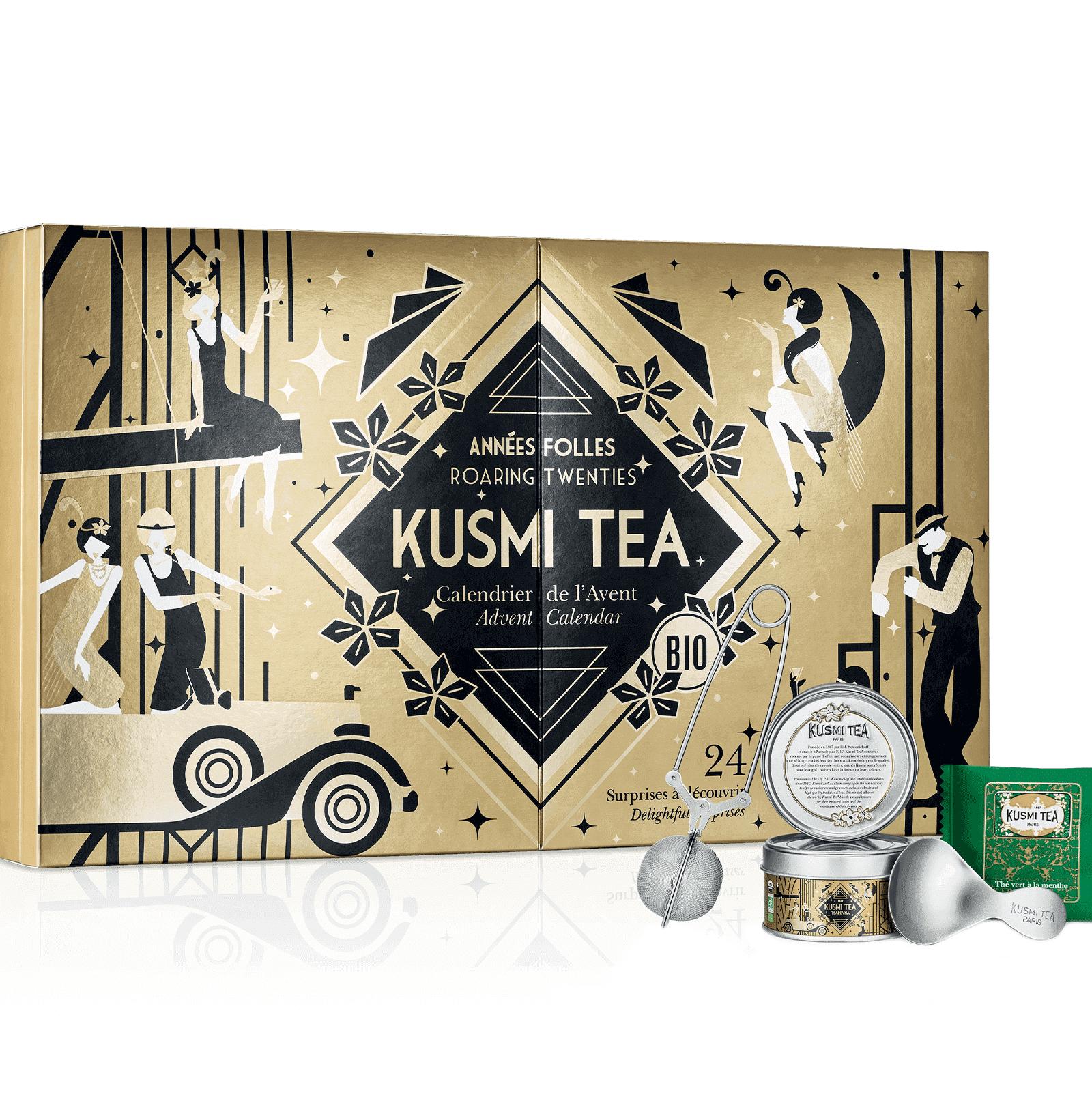 KUSMI TEA Calendrier de l'Avent Kusmi Tea Bio - Calendrier contenant 2 miniatures et 20 sachets de thés verts, thés noirs et infusions aromatisés avec une pince et une cuillère à thé - Kusmi Tea