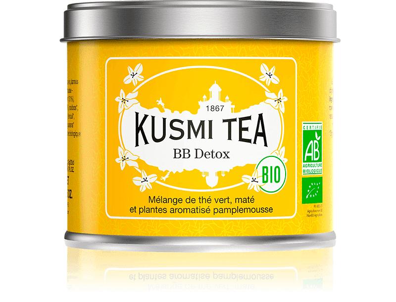 KUSMI TEA BB Detox bio - Mélange de thé vert, maté et plantes aromatisé pamplemousse - Boite à thé en vrac - Kusmi Tea