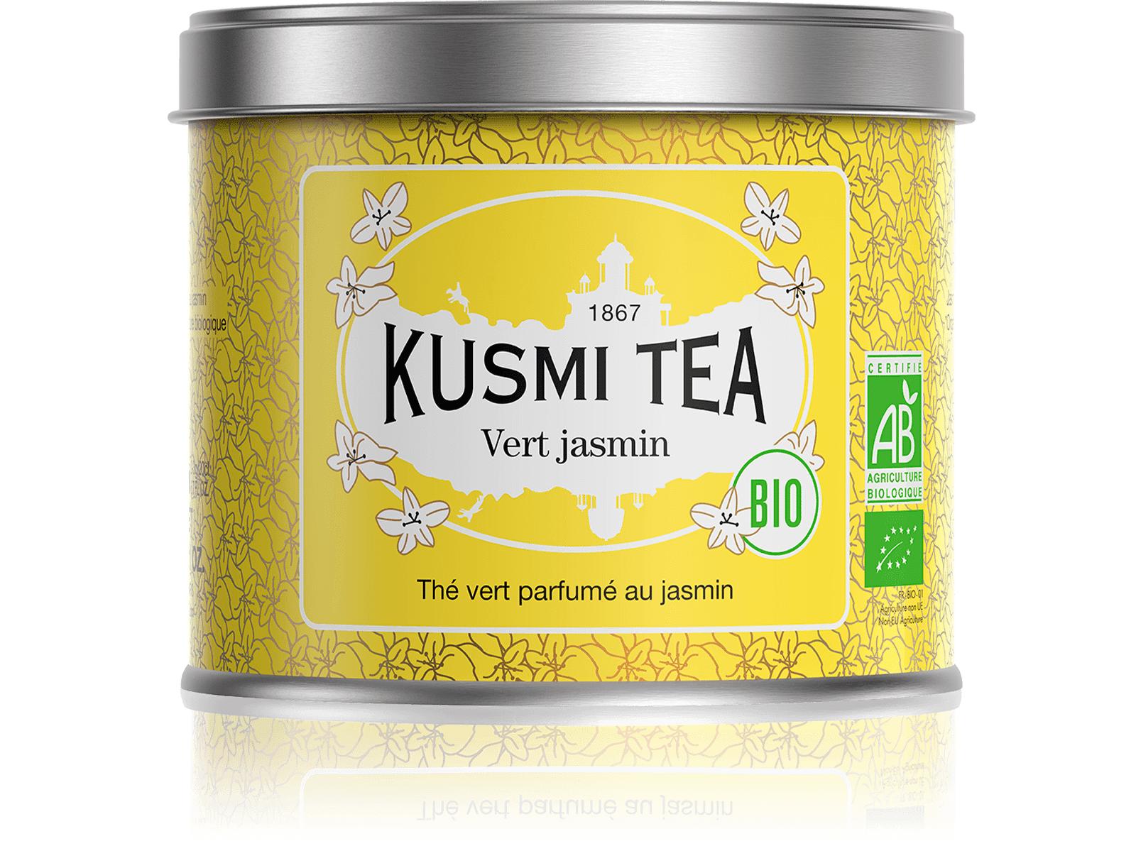 KUSMI TEA Vert Jasmin bio - Thé vert au jasmin - Boîte de thé en vrac - Kusmi Tea