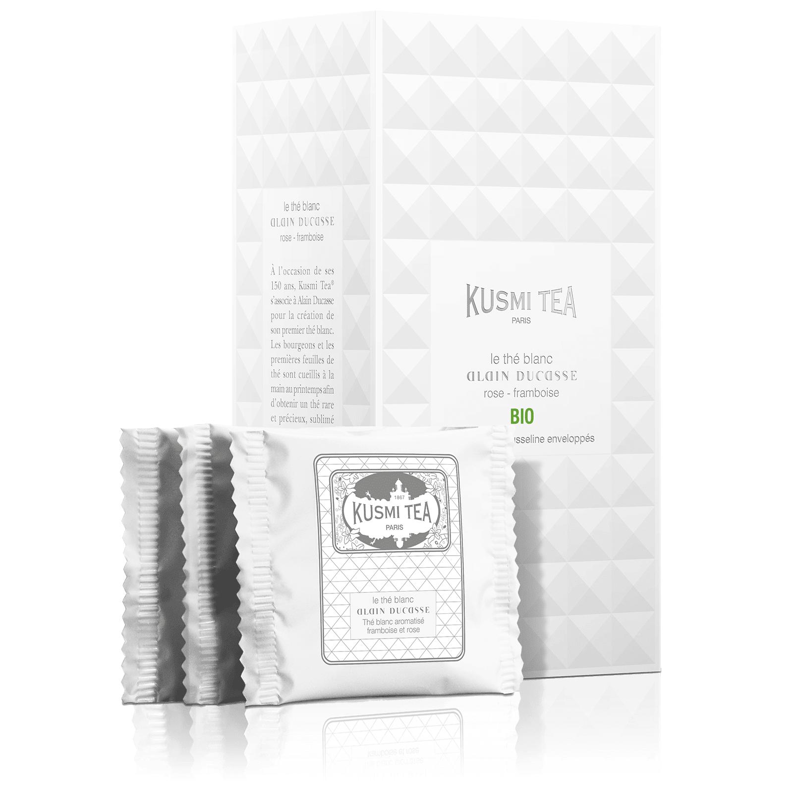 KUSMI TEA Le Thé Blanc Alain Ducasse Bio - Thé blanc aromatisé framboise et rose - Sachets de thé - Kusmi Tea