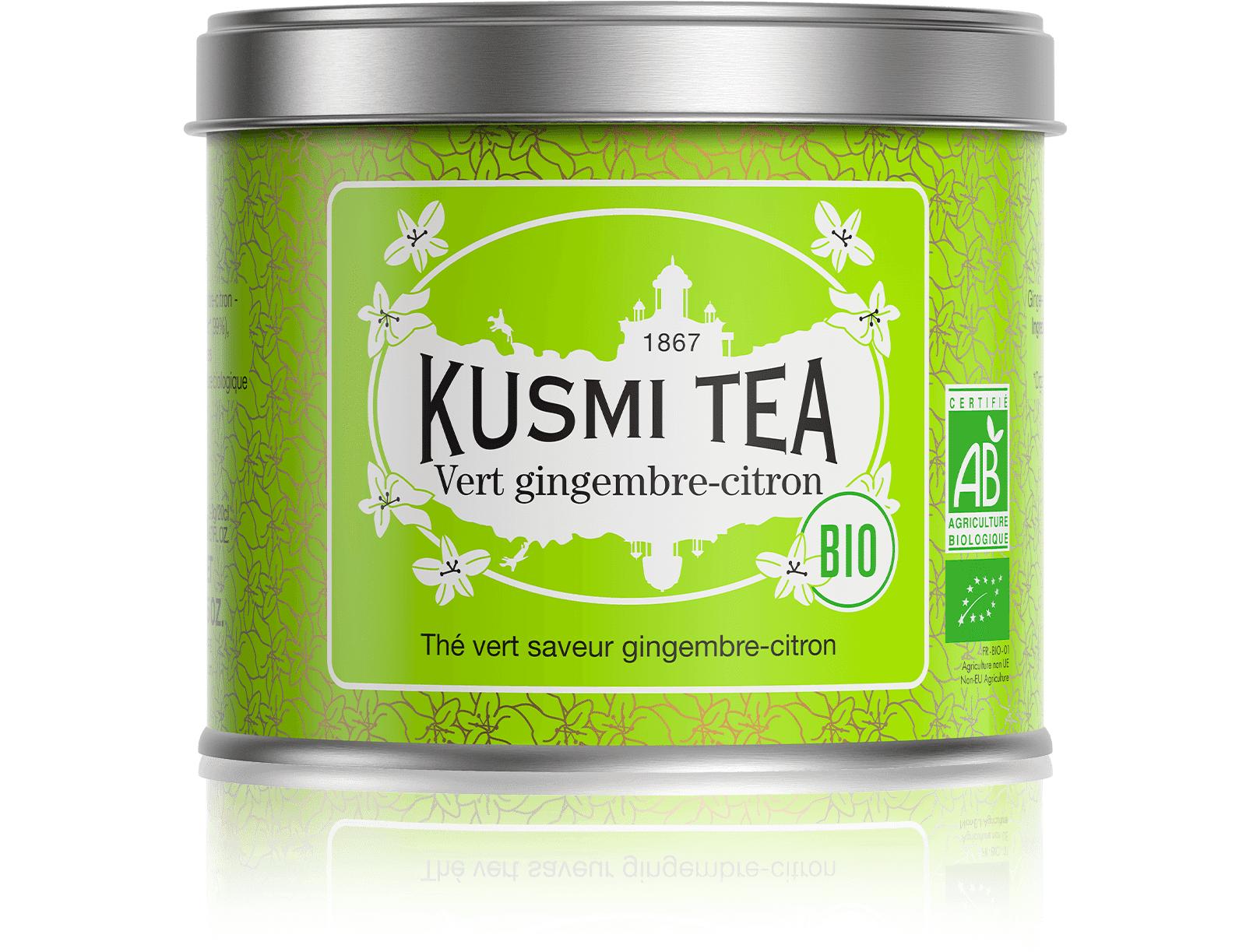 KUSMI TEA Vert gingembre-citron bio - Thé vert, gingembre, citron - Boîte de thé en vrac - Kusmi Tea
