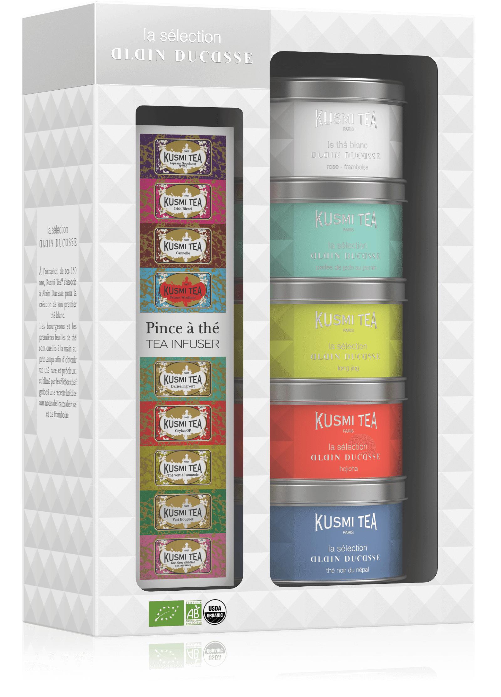KUSMI TEA Coffret Thé Bio La Sélection Alain Ducasse & une pince à thé  Kusmi Tea