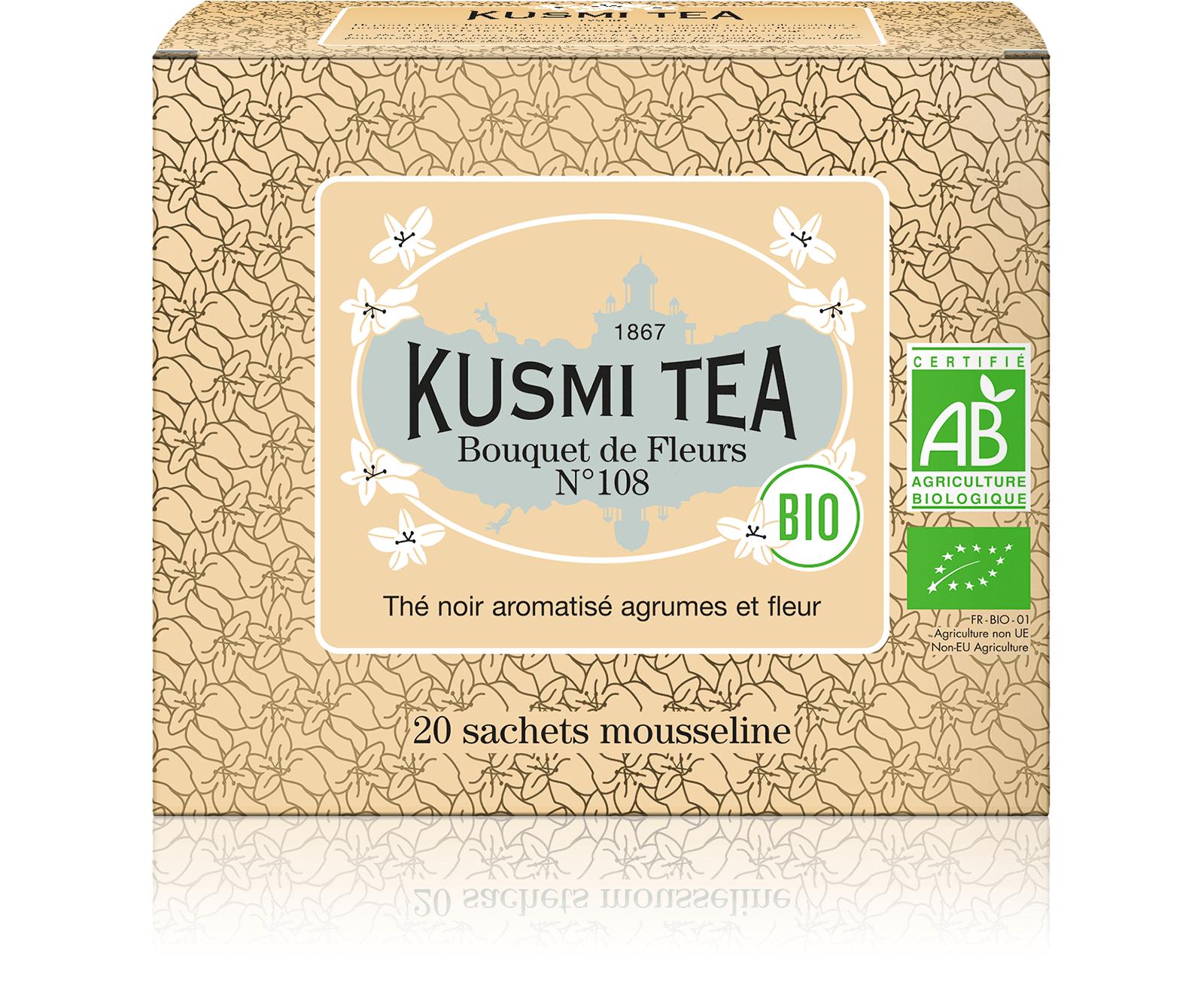 KUSMI TEA Bouquet de Fleurs N°108 bio - Thé earl grey, fleur Ylang-Ylang - Sachets de thé - Kusmi Tea