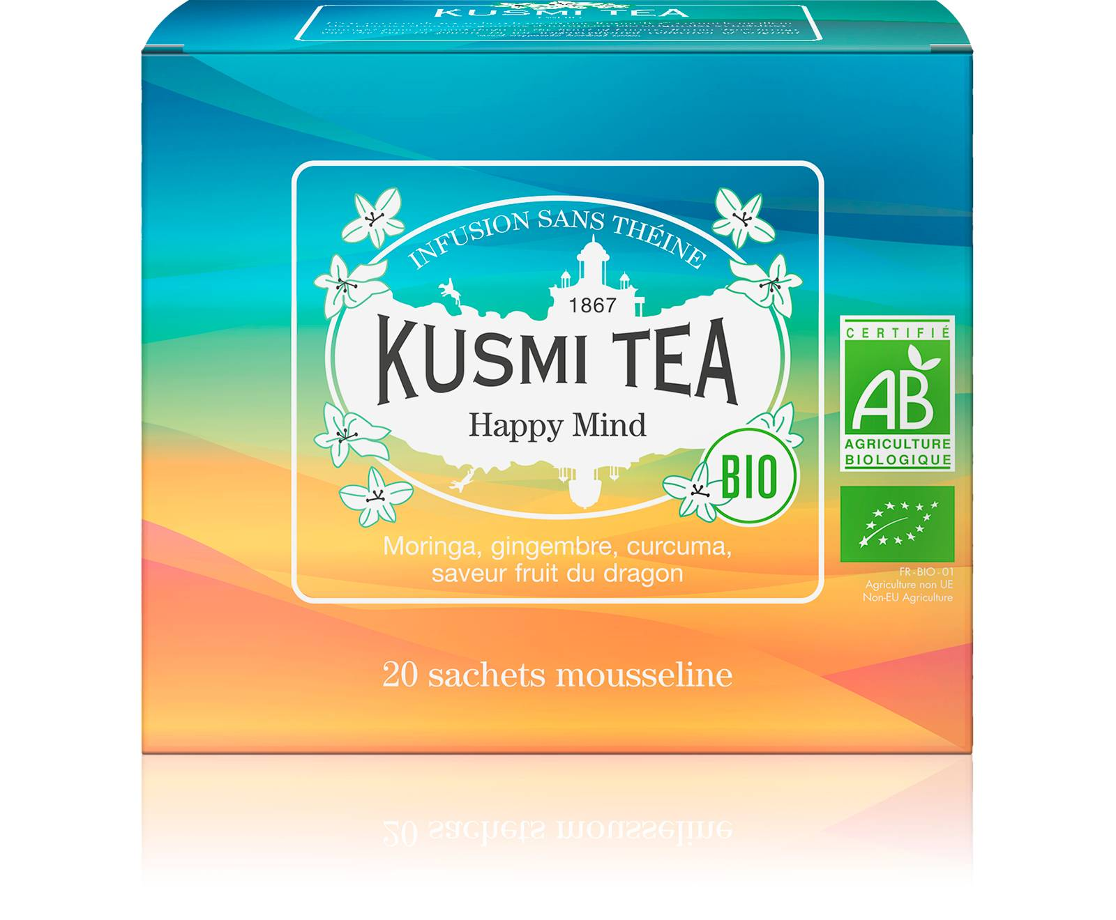 KUSMI TEA Happy Mind Infusion bio Plante, citron, pomme, épices  Kusmi Tea