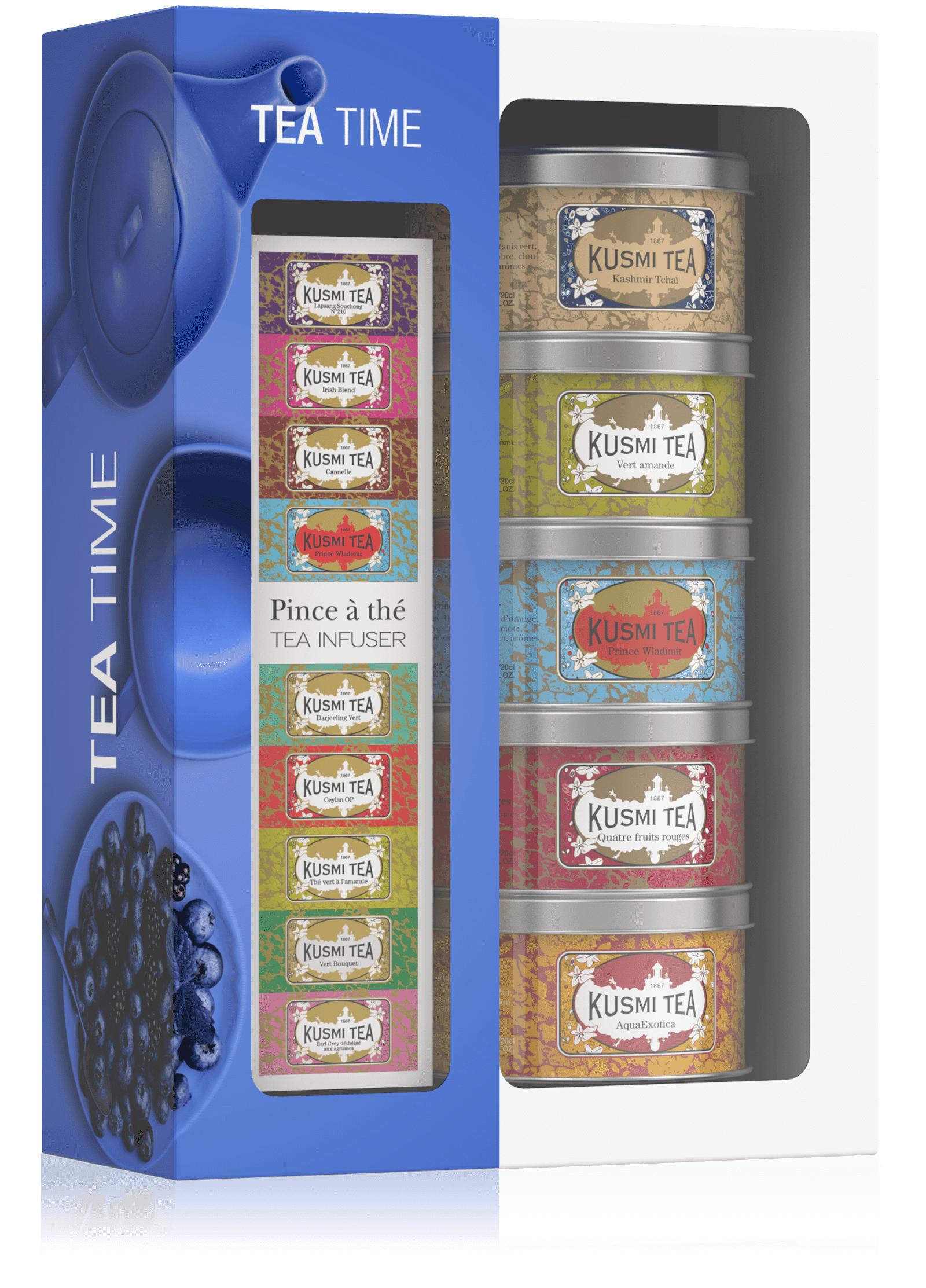 KUSMI TEA Coffret Tea Time avec une pince à thé  Thé noir  Kusmi Tea