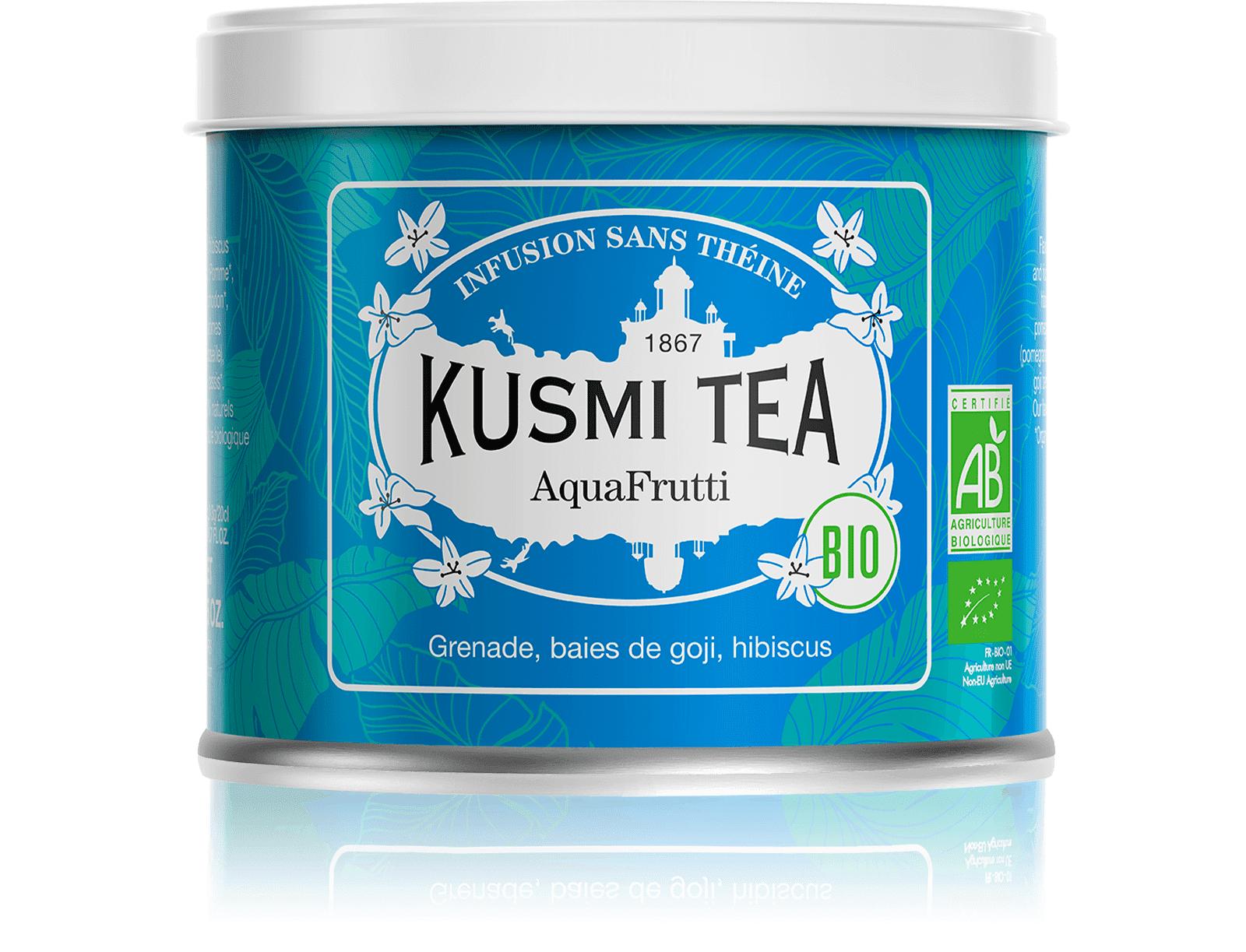 KUSMI TEA AquaFrutti (Infusion de fruits bio) - Infusion hibiscus, baies de goji - Boîte de thé en vrac - Kusmi Tea