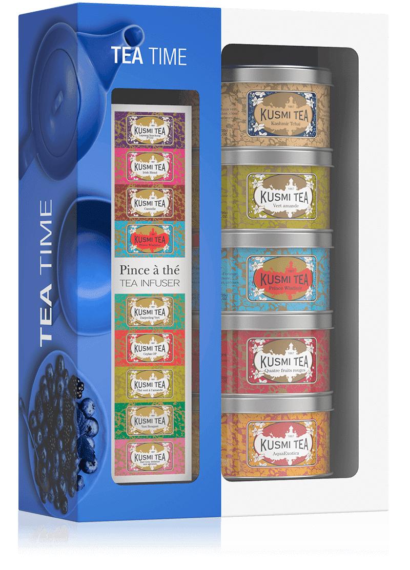 KUSMI TEA Coffret Tea Time avec une pince à thé - Thé noir et vert en vrac - Kusmi Tea