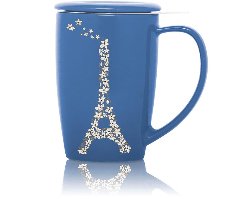 KUSMI TEA French Mug en céramique avec filtre et couvercle - Bleu - Accessoire pour le thé - Kusmi Tea