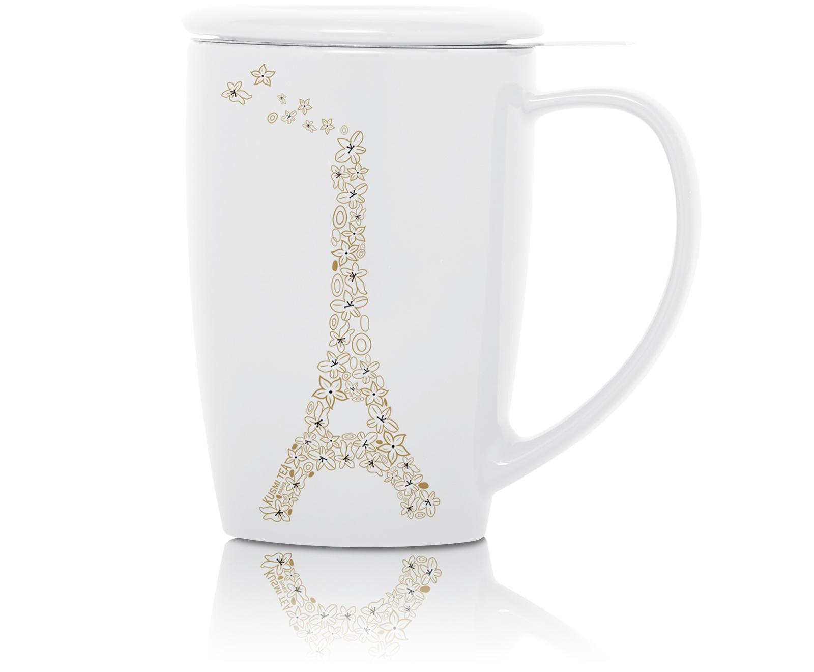 KUSMI TEA French Mug en céramique avec filtre et couvercle - Blanc Kusmi Tea