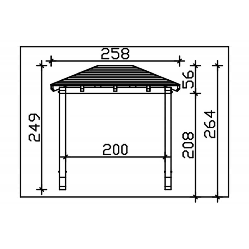Direct abris Carport en bois FRIESLAND - 314 x 708