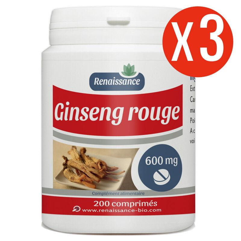 Renaissance Bio Ginseng Rouge - 600 mg - 200 comprimés x 3