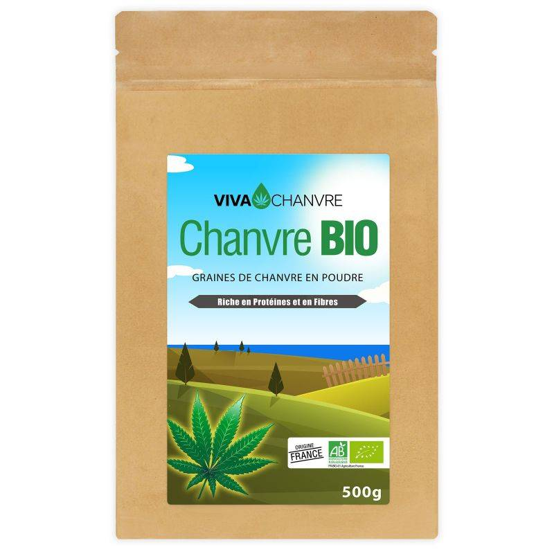 VivaChanvre Graines de Chanvre Bio en Poudre - 500 g